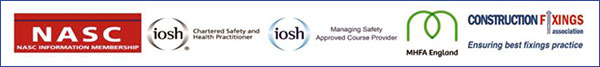 NASC, iosh, MHFA England and Construction Fixings Logos